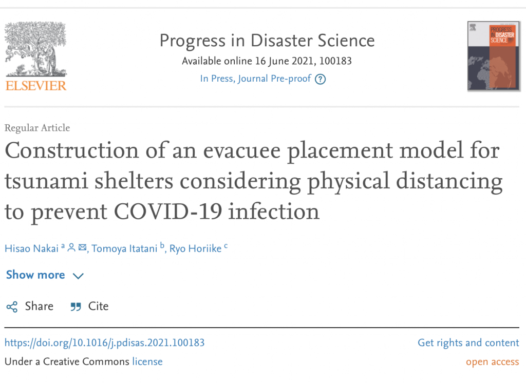 Construction of an evacuee placement model for tsunami shelters considering physical distancing to prevent COVID-19 infection